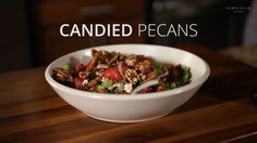 These candied pecans are amazing in salads or great to eat alone as snack. And it's just three ingredients. New Recipes, Baking Recipes, Easy Recipes, Vegetarian Recipes, Dinner Recipes, All You Need Is, Eating Alone, Candied Pecans, Fast Easy Meals