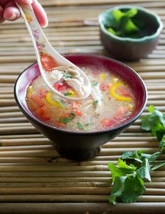Thai Hot & Sour Chicken Soup Recipe that's healthy, easy and made from left over chicken breast. Perfect for a quick healthy dinner.