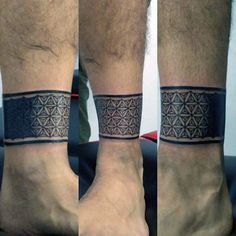 Geometric Flower Of Life Ankle Band Male Tattoos