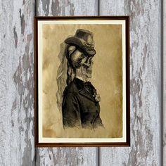 Skeleton print Victorian illustration gothic art by artkurka, $18.00