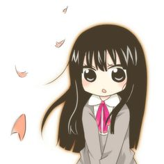 "This chibi is based off the anime ""Kimi ni Todoke."" This anime chibi picture is of Sawako Kuronuma"