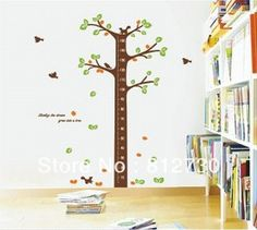 House Nursery Room Home Cute Height Tree Wall Decor Decals Sticker Quote Paper for Kid Boy Girl Playroom Bedroom Decoration
