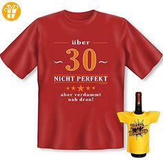 Geburtstags Set T-Shirt + Mini für die Flasche <-> über 30 <-> ein kleines lustiges Geschenk Goodman Design®Dunkelrot (*Partner-Link)