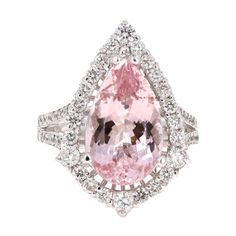 View this item and discover similar for sale at - Gorgeous and Unique Morganite Diamond Ring! This Morganite ring has a gorgeous Carat Pear Cut Pink Morganite and is surrounded by 52 Round Cut Diamonds Round Cut Diamond, Diamond Cuts, Pear Cut Engagement Rings, Pear Ring, Morganite Ring, Custom Jewelry, White Gold, Clarity, 18k Gold