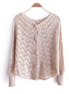 Autumn Fall New Style Fashion Bat Wing Sleeve Single-Breasted Beige Loose Knitting Sweater Cardigans One Size@WXM966be