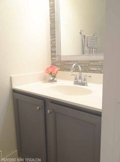 Lots of budget friendly ideas in this bathroom makeover. Complete with source list! Bathroom Renos, Budget Bathroom, Bathroom Renovations, Home Renovation, Home Remodeling, Bathroom Ideas, Remodel Bathroom, Bathroom Inspo, Bathroom Vanities