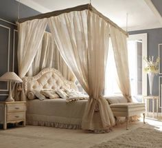 Bedroom - creative bed canopy...love everything about this room