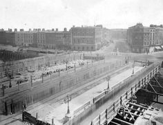 trams were still able to run along the tramlines over the River Liffey during the construction work, as seen in middle picture Ireland Pictures, Old Pictures, Old Photos, Vintage Photos, Dublin Street, Dublin City, Dublin Ireland, Ireland Travel, Photo Engraving