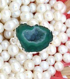 An-3298 Sale! Green Geode Druzy Sllver Plated Handmade Connector Jewelry Making #Handmade