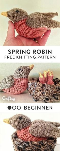 This knit robin pattern is a very quick and simple knit, worked in the round and in one piece. Wings are knit separately and seamed to body afterward. Get the free intermediate knitting pattern at Craftsy!