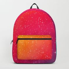 """Colorful Galaxy Backpack. One unisex size: 17.75""""(H) x 12.25""""(W) x 5.75""""(D)."""