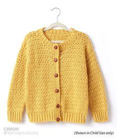 Adult Crochet Crew Neck Cardigan - Free Crochet Pattern - (yarnspirations)