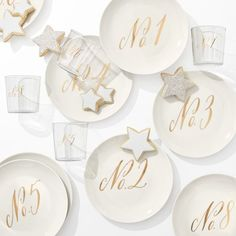 Maybelle Calligraphy Ceramic Dessert Plate, Set of 4, No. Collection