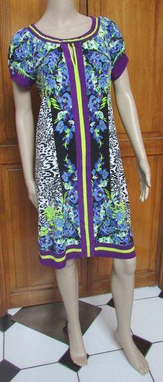 ECI Short Sleeve Sheath Bright Floral and Animal  Print Dress Size 10 NWT #ECI #Sheath #Casual