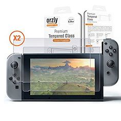 Screen Protector Nintendo Switch - Orzly Premium Tempered Glass Screen Protector TWIN Pack