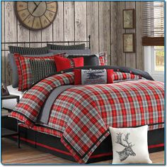 rustic cabin decor - cabin by the lake bedroom decor - cabin in the woods bedroom decorating ideas - moose fishing camping hunting lodge bedrooms for boys - black bear decor - rustic furniture - lodge cabin log cabin themed bedroom decorating ideas Plaid Comforter, Queen Comforter Sets, Twin Comforter, Red Bedding Sets, Boy Bedding, Bed Sets, Bedroom Themes, Bedroom Decor, Bedroom Ideas