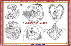 221 6 New Crinoline Lady Embroidery Transfer Patterns New | eBay