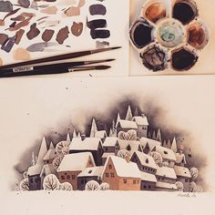 Painting a new snowscape for christmas-cards and prints for my shop ❄❄❄ . . #snowscape #winter #snow #watercolor #art #illustration #watercolorpainting #cold #christmas #advent #village #aquarell