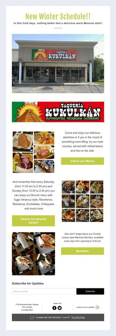 New Winter Schedule! In this Cold days, nothing better that a delicious warm Mexican dish! Refried Beans, Mexican Dishes, Cold Day, Main Courses, Schedule, Menu, Wellness, Events, Warm
