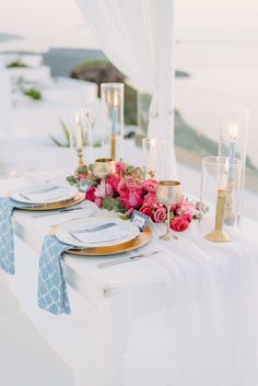 The bride and groom packed their bags and secretly took off to Santorini for this beautiful and inimate destination elopement. Dripping with fuchsia & pink peonies and roses, you will fall in love with every detail! Wedding Reception Decorations, Wedding Centerpieces, Reception Ideas, Luxe Wedding, Mod Wedding, Table Setting Inspiration, Wedding Inspiration, Multicultural Wedding, Santorini Wedding