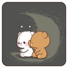 No photo description available. Cute Couple Cartoon, Cute Love Cartoons, Cute Cartoon Animals, Cute Animals, Cute Bear Drawings, Cute Kawaii Drawings, Cute Love Gif, Cute Cartoon Wallpapers, Kawaii Wallpaper