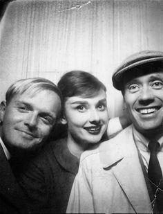 Truman Capote, Audrey Hepburn and Mel  Ferrer.