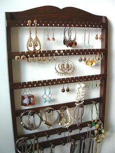 Jewelry Holder Combo Organizer Cocoa Brown Oak
