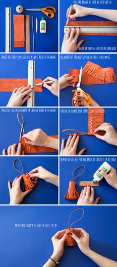 New diy summer bag free pattern 24 Ideas Leather Tassel, Leather Jewelry, Leather Craft, Crea Cuir, Leather Tutorial, Diy Tassel, Tassels, Crochet Summer Tops, Leather Carving