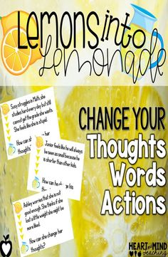 Teach perseverance and self-esteem with this activity about changing our thoughts, words, and actions to be positive. Practice recognizing negative thinking, speaking and behavior and changing it to be optimistic. Great for small group counseling for scho Elementary School Counseling, School Social Work, School Counselor, Elementary Schools, Teaching Social Skills, Social Emotional Learning, Teaching Resources, Teaching Ideas, Counseling Quotes
