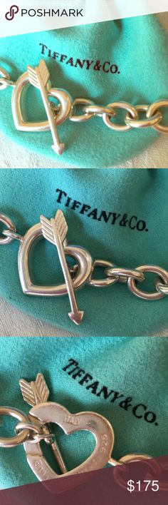 Rare Tiffany & Co. Heart&Arrow bracelet-firm price It's hard to let this one go. I loved this bracelet and wore it throughout my teenage years. Love it. So different. Everyone had the clasp bracelets and I loved that mine was the heart and arrow! These were not very popular because they were triple the price of the clasp ones with the ID tags! I'm going to miss it - but I just haven't worn it in YEARS! Just polished it!! It's priced based on its rarity. I'm not very flexible with the pricing…