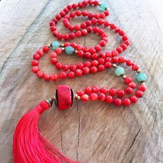Red coral necklace, red tassel mala necklace