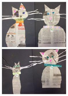Katze aus Zeitungspapier basteln: Art Classroom, Newspaper Collage, Newspaper Crafts, Kindergarten Age, Kindergarten Art Projects, Art For Kids, Crafts For Kids, Fish Art, Arte Fundamental