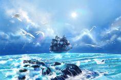 【晴天のヘルジャッジ号】ヘルジャッジ号は黒塗りの海賊船です。 この絵を描き始めて、ラッセン(Christian Riese Lassen)を思い浮かべました。子供の頃からの憧れの画家です。 モアナを聴きながら描いていたら、とても癒されました。