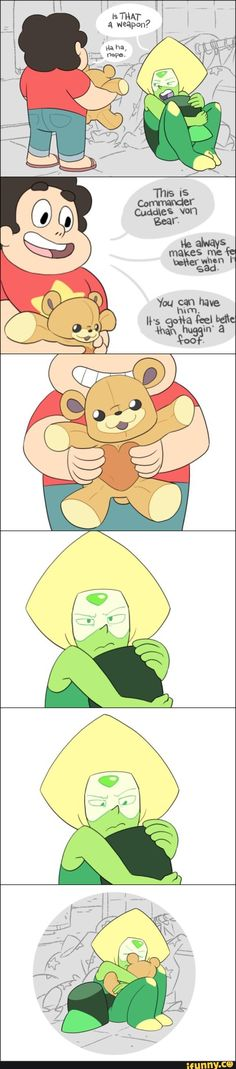 stevenuniverse    She probably felt sad being away from homeworld so I gave her my bear.