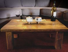 small chunky coffee table make from recycled wood