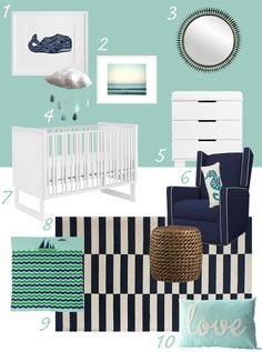 Nursery - already have the blue/green wall - match with navy and orange to pull in our room colors?  Love the water theme!