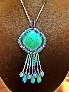 feeling blue bead embroidered pendant by josjewels1 on Etsy, $120.00