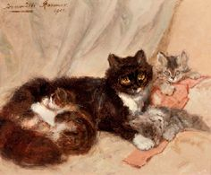 Henriette Ronner (Dutch, 1821-1909) | Mother cat and her kittens | 19th Century European Art Auction | Christie's