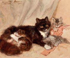 Henriette Ronner (Dutch, 1821-1909) | Mother cat and her kittens | 19th Century European Art Auction | Christie's