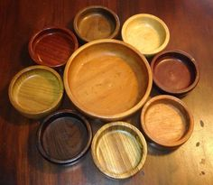 Large set of vintage wooden bowls. 8 small by tompkinsoriginal