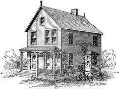 Free Vintage Digital Stamp - Old Farm House Building Drawing, Building Sketch, House Sketch, House Drawing, Vintage Printable, Old Farm Houses, Digi Stamps, Vintage Farmhouse, Farmhouse Table