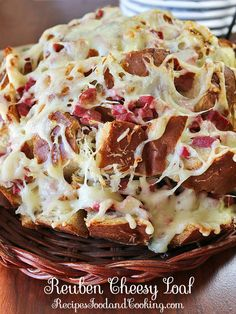 Rye bread stuffed with sauerkraut, corned beef and Swiss cheese in this delicious Reuben Cheesy Loaf. Recipes, Food and Cooking