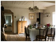 exposed beam door frame and paneled ceilings...lovely farmhouse style