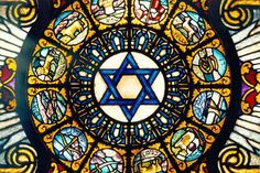 THE 12 TRIBES This amazing stained glass window is being at the ceiling of the Jewish Home in Los Angeles, California for over hundred years. It includes designs for each one of the twelve tribes of Israel.
