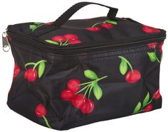 World Traveler Black Red Cherries Cosmetic Makeup Case >>> Learn more by visiting the image link. (Note:Amazon affiliate link)