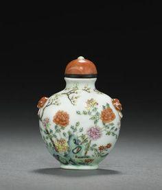 A molded and famille rose enameled porcelain snuff bottle, 1820-1900