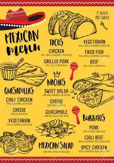 Mexican Food Menu, Mexican Restaurant Design, Mexican Street Food, Mexican Food Recipes, Mexican Restaurants, Menu Fast Food, Food Truck Menu, Food Menu Template, Restaurant Menu Template