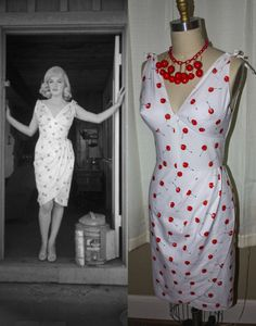 Marilyn+Monroe+Cherry+Wiggle+Dress+Custom+Made+to+by+Morningstar84,+$185.00