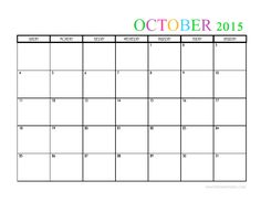 October  Blank Printable Calendar Template  October