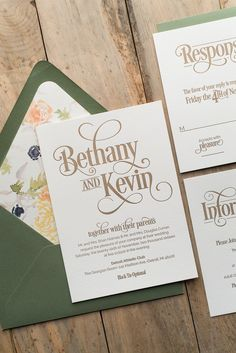 BETHANY Suite Floral Package, sage and peach, blush, anemones, floral envelope liners, letterpress wedding invitations, gold
